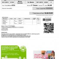 Trenitalia karta za vlak Milano-Mestre