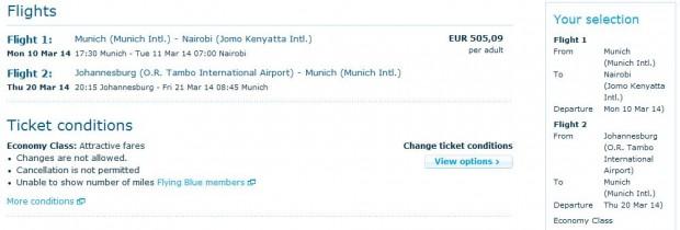 Minhen >> Nairobi >> vlastiti put >> Johannesburg >> Minhen