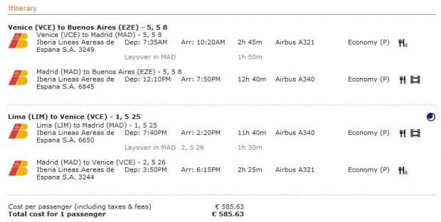 Venecija >> Madrid >> Buenos Aires -- vlastiti prijevoz -- Lima >> Madrid >> Venecija