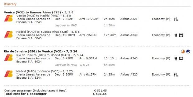 Venecija >> Madrid >> Buenos Aires -- vlastiti prijevoz -- Rio de Janiero >> Madrid >> Venecija