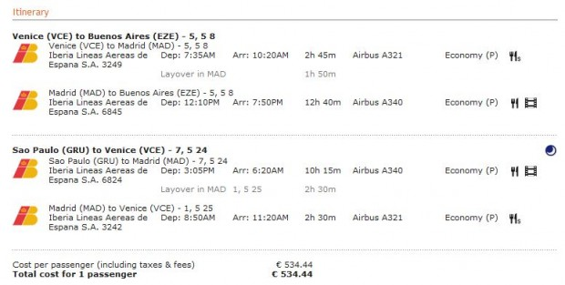 Venecija >> Madrid >> Buenos Aires -- vlastiti prijevoz -- Sao Paulo >> Madrid >> Venecija