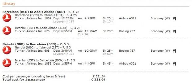 Barcelona >> Adis Abeba -- vlastiti prijevoz -- Nairobi >> Barcelona