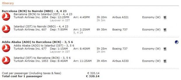 Barcelona >> Nairobi -- vlastiti prijevoz -- Adis Abeba >> Barcelona