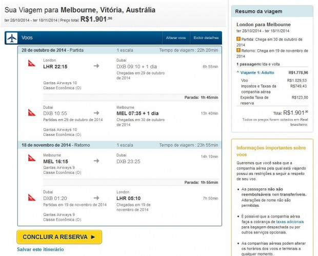London >> Melbourne >> London