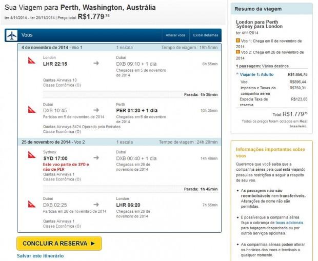 London >> Perth >> Sydney >> London