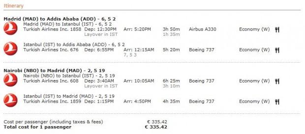 Madrid >> Adis Abeba -- vlastiti prijevoz -- Nairobi >> Madrid
