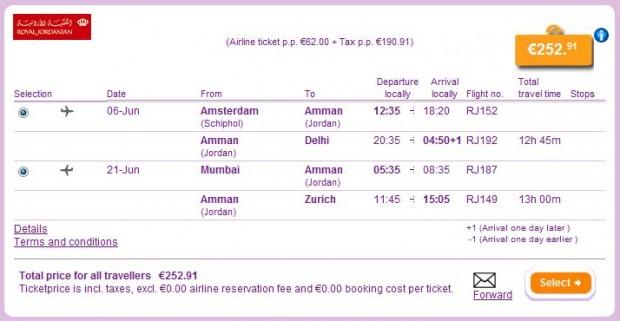 Amsterdam >> Delhi -- Mumbai >> Zurich