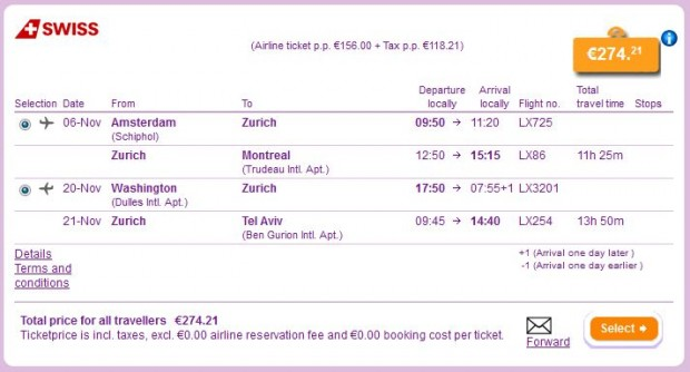 Amsterdam >> Zurich >> Montreal -- Washington >> Zurich >> Tel Aviv