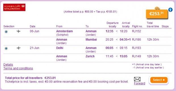 Amsterdam >> Mumbai -- Delhi >> Zurich