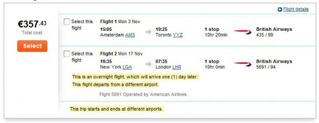 Amsterdama >> Toronto -- New York >> London