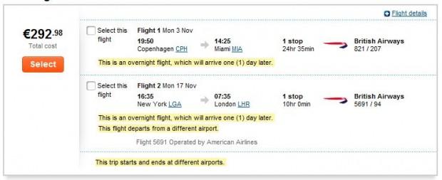 Kopenhagen >> Miami -- New York >> London