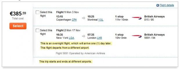 Kopenhagen >> Montreal -- New York >> London