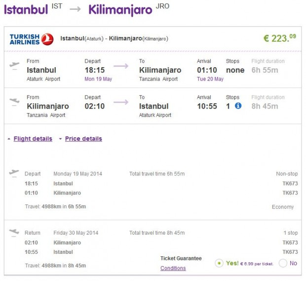 Istanbul >> Kilimanjaro >> Istanbul