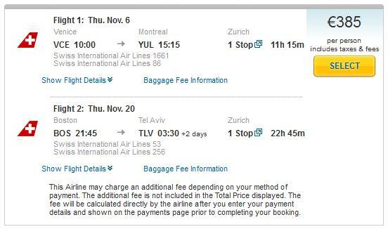 Venice >> Zurich >> Montreal -- Boston >> Zurich >> Tel Aviv