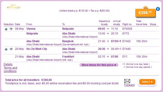 Beč >> Bangkok >> Ho Chi Minh City >> Frankfurt