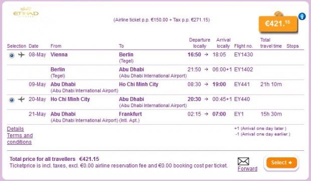 Beč >> Ho Chi Minh City >> Frankfurt
