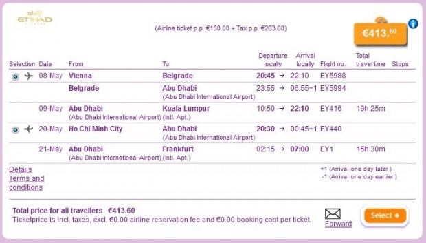 Beč >> Kuala Lumpur >> Ho Chi Minh City >> Frankfurt