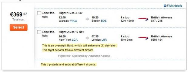 Varšava >> Boston -- New York >> London