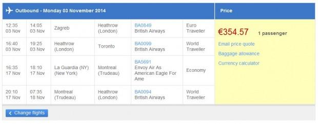 Zagreb >> Toronto -- New York >> London - British Airways