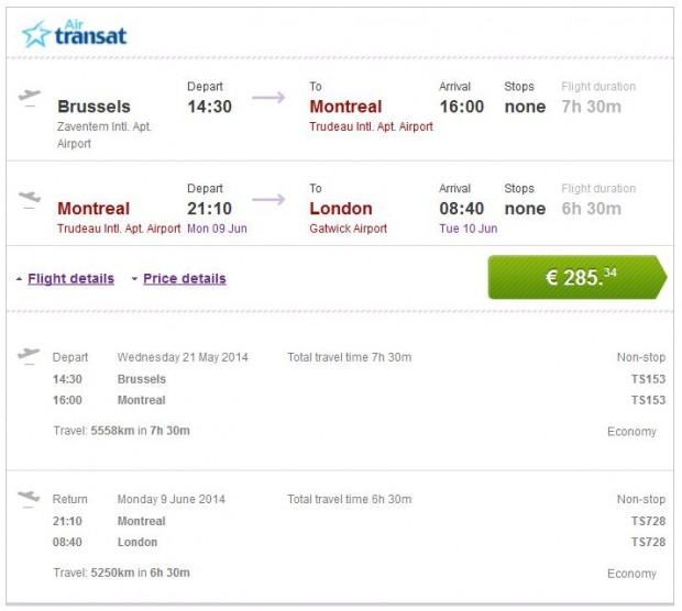 Brisel >> Montreal >> London