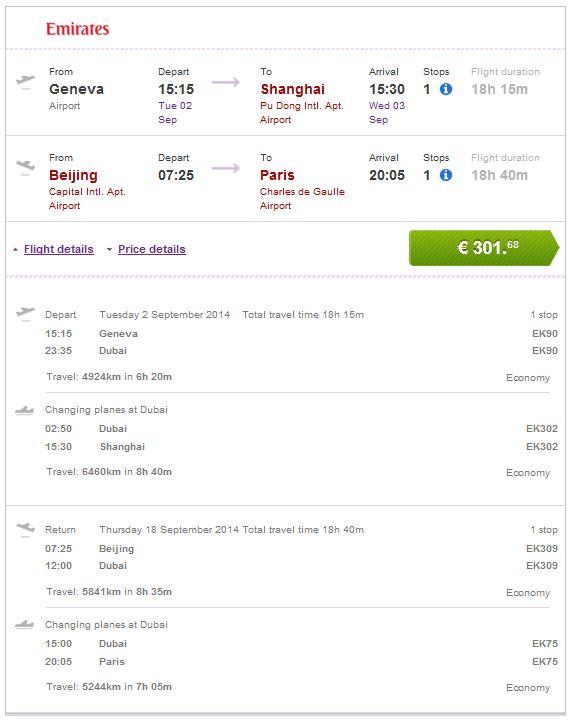 Ženeva >> Šangaj -- Peking >> Pariz