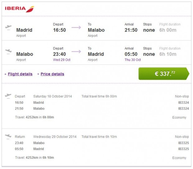 Madrid >> Malabo >> Madrid