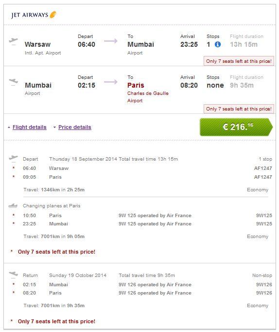 Varšava >> Mumbai >> Pariz