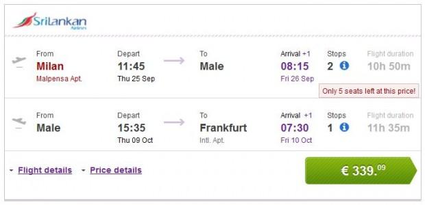 Milano >> Male >> Frankfurt