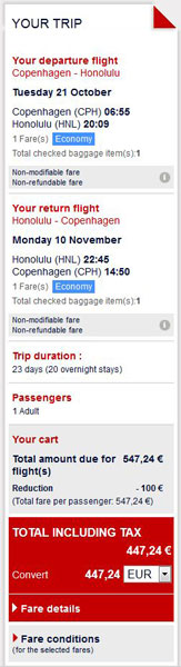 Kopenhagen >> Honolulu >> Kopenhagen