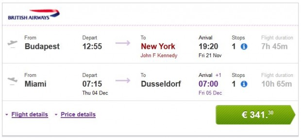 Budimpešta >> New York, Washington ili Philadelphia -- Miami >> Dusseldorf