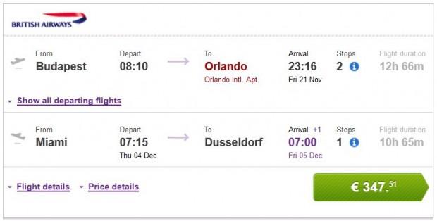 Budimpešta >> Orlando -- Miami >> Dusseldorf