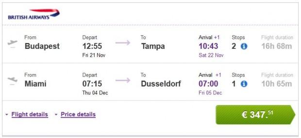 Budimpešta >> Tampa -- Miami >> Dusseldorf