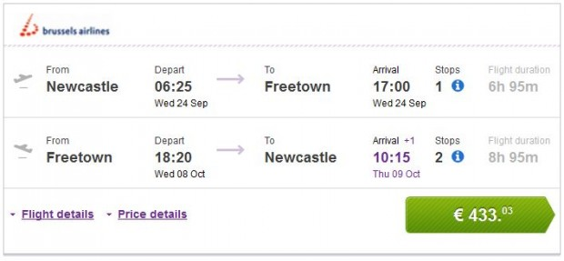 Newcastle >> Freetown >> Newcastle
