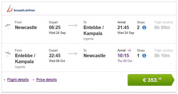 Newcastle >> Entebbe / Kampala >> Newcastle