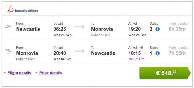 Newcastle >> Monrovia >> Newcastle