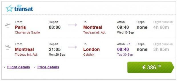 Pariz >> Montreal >> London