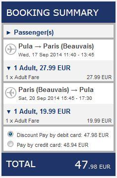 Pula >> Paris Beauvais >> Pula