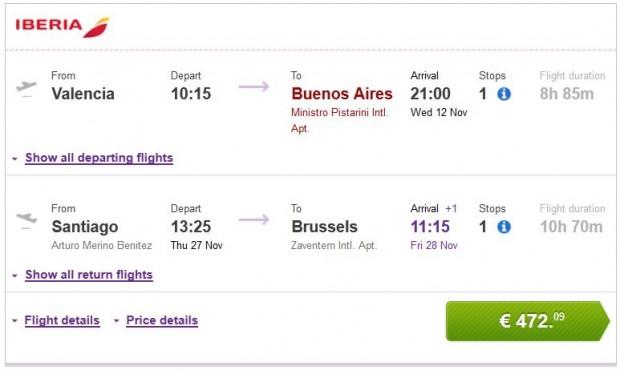 Valencia >> Buenos Aires -- Santiago de Chile >> Brisel