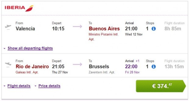 Valencia >> Buenos Aires -- Rio de Janeiro >> Brisel