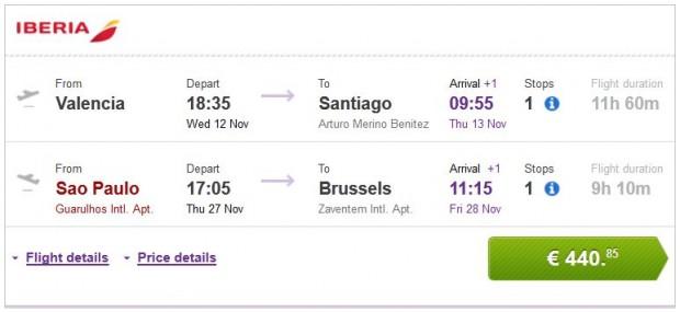 Valencia >> Santiago de Chile -- Sao Paulo >> Brisel