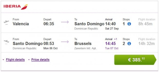 Valencia >> Santo Domingo >> Brisel
