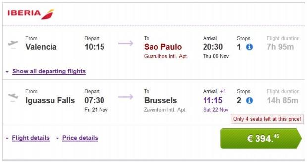 Valencia >> Sao Paulo -- Iguassu Falls >> Brisel