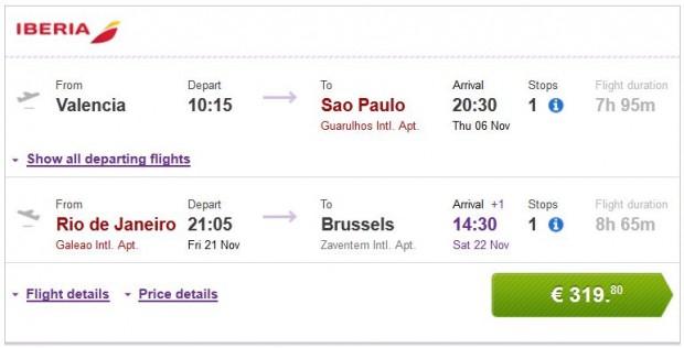 Valencia >> Sao Paulo -- Rio de Janeiro >> Brisel