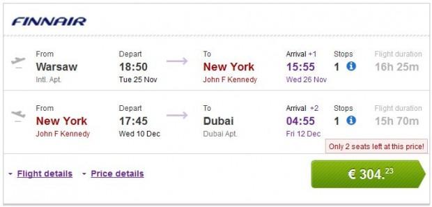 Varšava >> New York >> Dubai