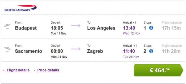 Budimpešta >> Los Angeles -- Sacramento >> Zagreb