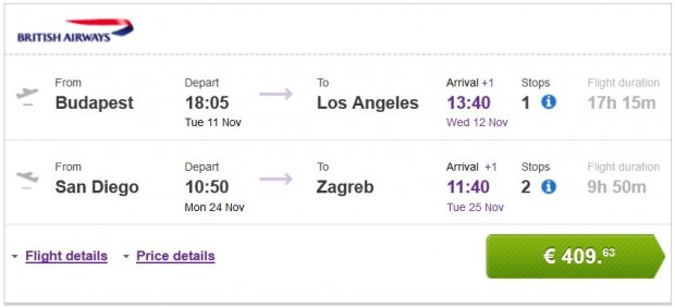 Budimpešta >> Los Angeles -- San Diego >> Zagreb