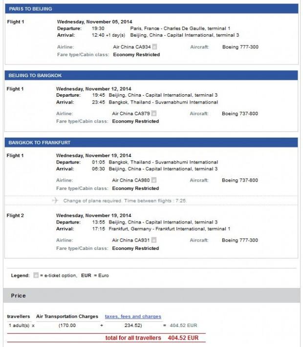 Pariz >> Peking >> Bangkok >> Frankfurt, još jeftinije na Air China stranicama