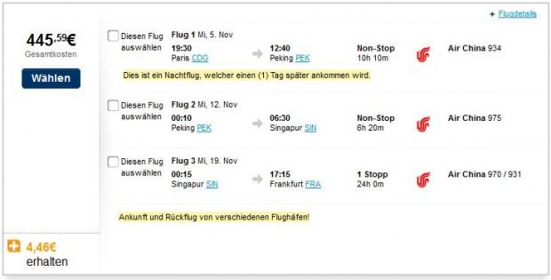 Pariz >> Peking >> Singapur >> Frankfurt
