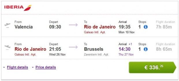 Valencia, Malaga, Bilbao, Barcelona >> Rio de Janeiro >> Brisel