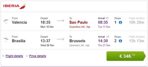 Valencia, Malaga, Bilbao, Barcelona >> Sao Paulo — Brasilia >> Brisel